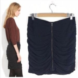 Madewell Front Zip Ruched Mini Skirt